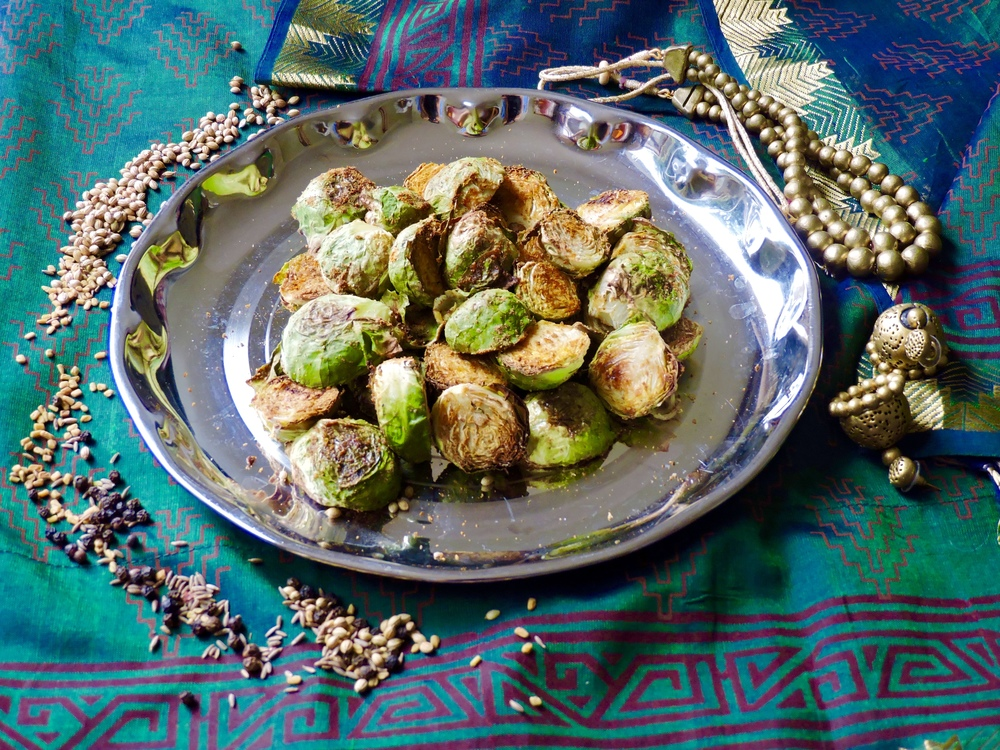 masala brussel sprouts, onelifetwoways, south indian, vegan, recipe