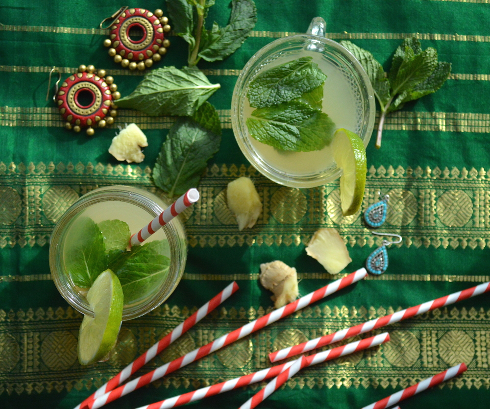 ginger lime mint cooler, drink, summer drink, refreshing, healthy, onelifetwoways, south indian, vegan, recipe