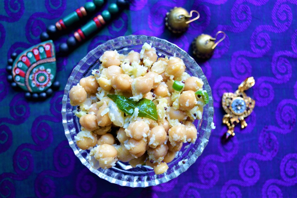 classic chickpea salad, vegan, south indian, healthy