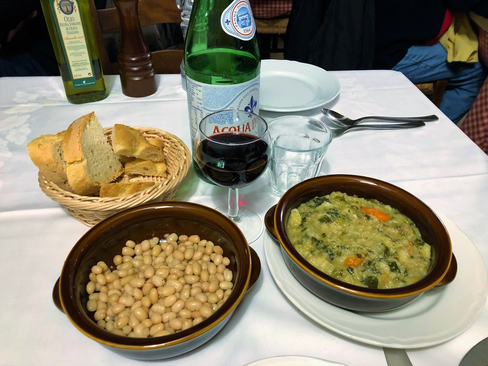 Ribollita and Zolfini beans, a local Tuscan special