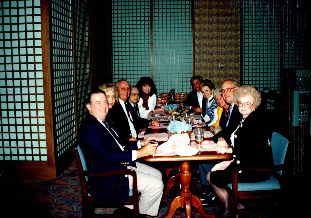 DICK BENNETT '52, SUE CORNISH, KEN BRUCE '53E, MAL WHITE '39MD, ARNOLD GARFINKEL '62MA, MARGARET WHITE, NANCY BRUCE, BILL CORNISH '52, BERTHA BENNETT