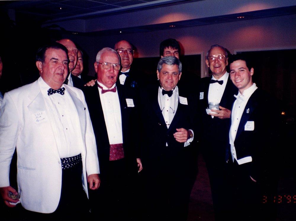 DICK BENNETT '52, WALTER BRITUEN, BERNIE PECK '36, TOM MACKELFRESH '51, BILL CORNISH '52, ARNOLD GARFINKEL '62MA, PETER WLASUK '84, BOB HATTEMER '53E, WHIFFEN