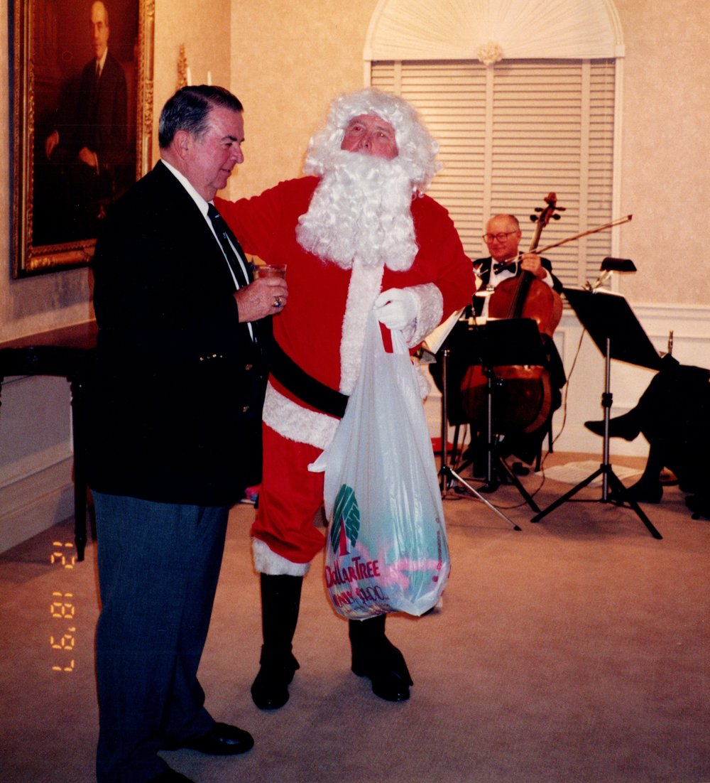 DICK BENNETT '52, AND SANTA CLAUS (TERRY FOSTER '56)