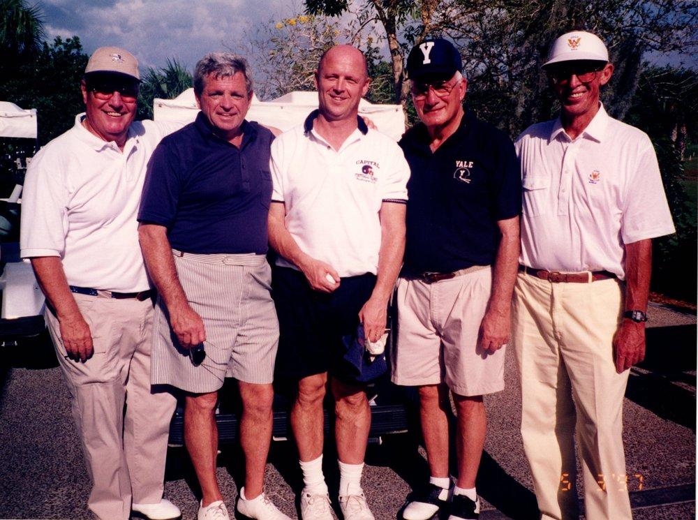 THE GOLFERS: TOM MACKELFRESH '51,  ARNOLD GARFINKEL '62MA, JACK SIEDLECKI, CARM COZZA, PETE BROADBENT '47E
