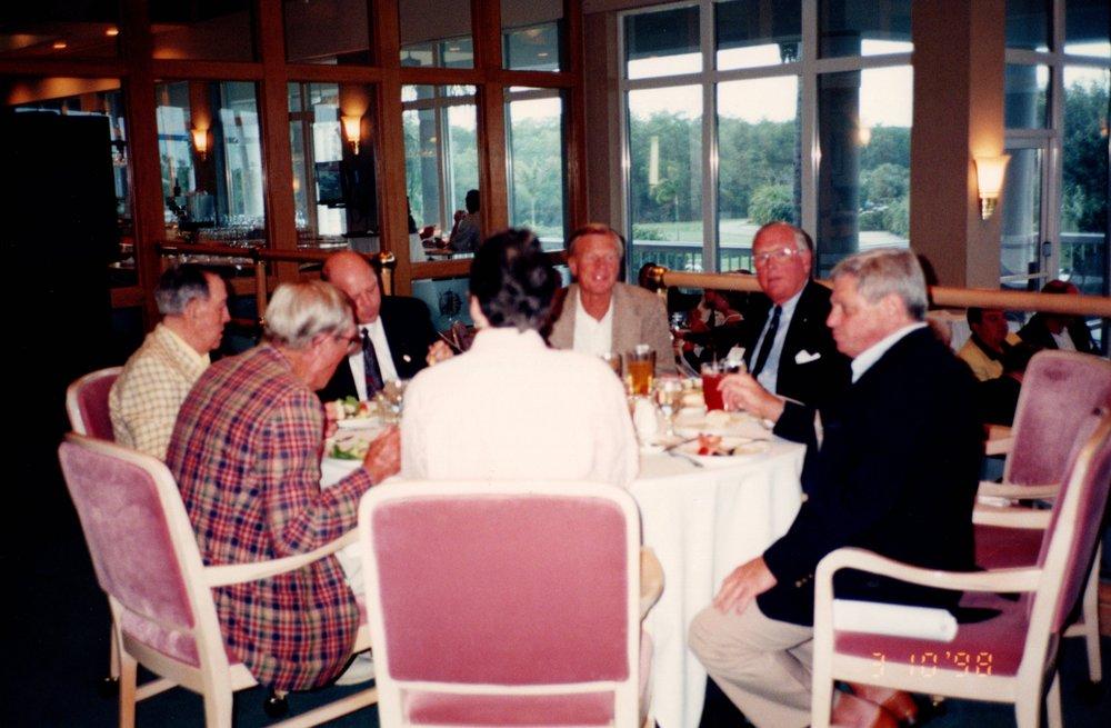 CLOCKWISE: PETE BROADBENT '47E, CHARILE O'HERN '24S, JACK SIEDLECKI, TERRY UPSON '60, TORRY FOSTER '56, ARNOLD GARFINKEL '62MA