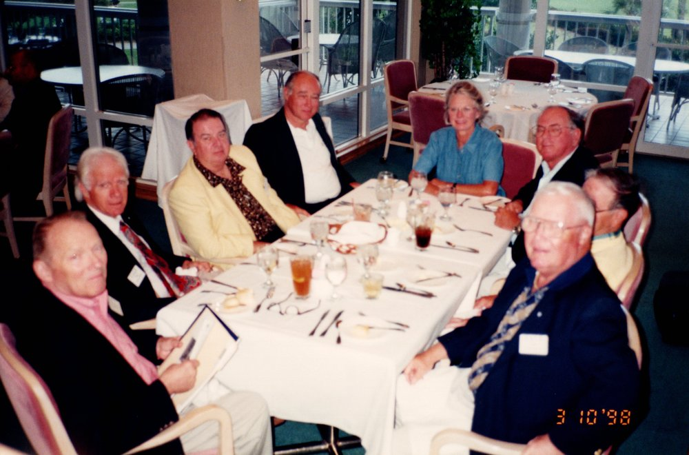 GEORGE ISBELL '46, FRED JOHNSON '56, DICK BENNETT '52, JIM CARTHAUS '62, SUE MOORE, FRANK MOORE '55, TOM MACKELFRESH '51