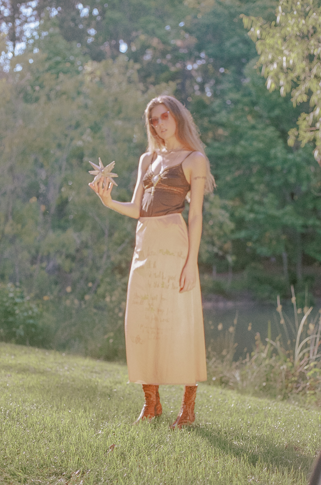 Naturally dyed, screen-printed, and beaded skirt. Hand beaded top.