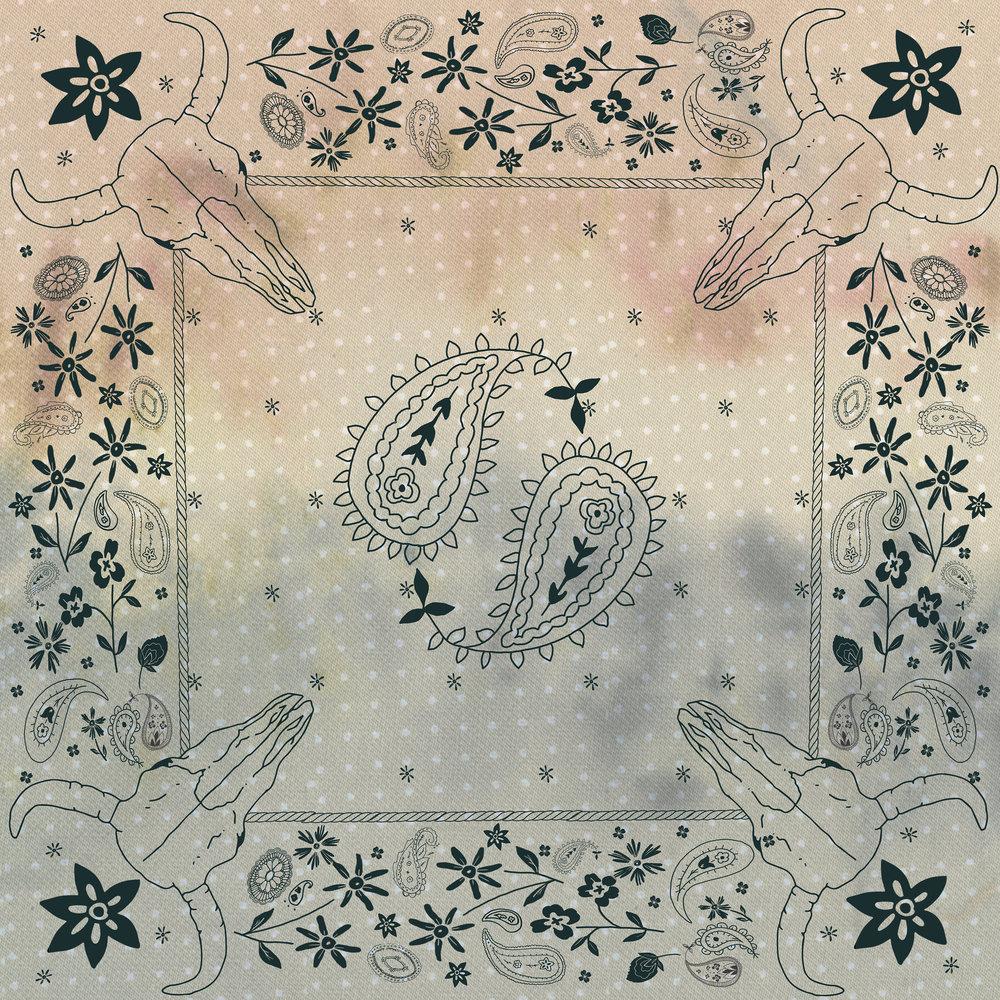 Bandana design printed on silk charmeuse