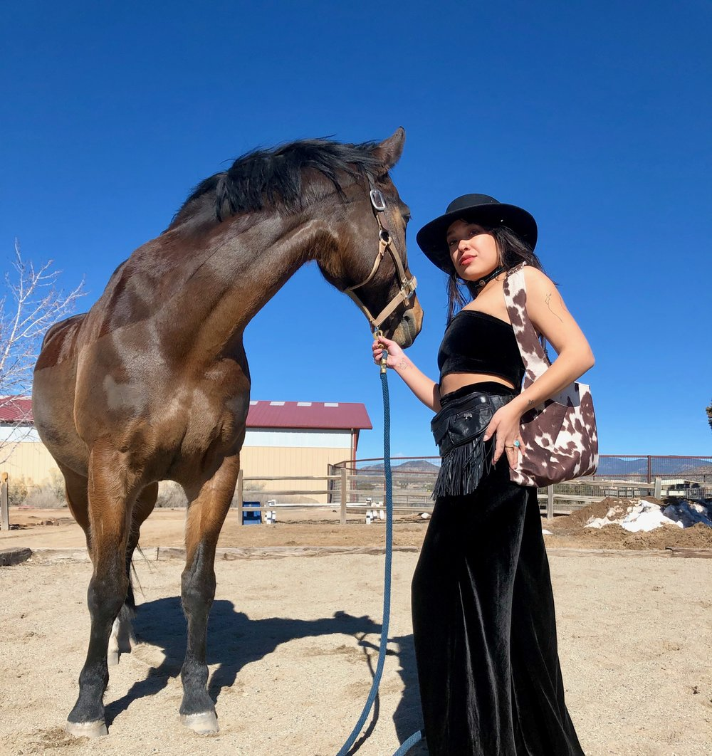 """'Belle Starr Side Saddle Set"""" silk velvet two piece set and cow print boho bag designed and sewn by me. Up-cycled 'Fringed Holster' fanny pack."""