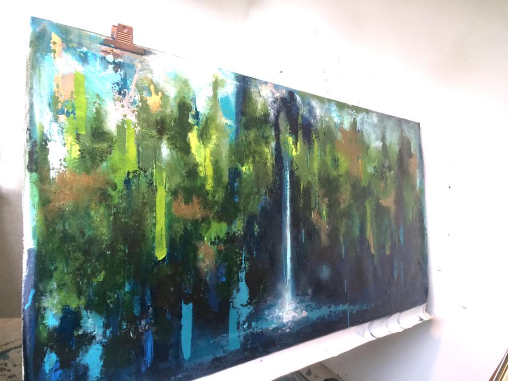 SÅLD! VATTENFALL - Akryl på duk, 80 x 180 cm