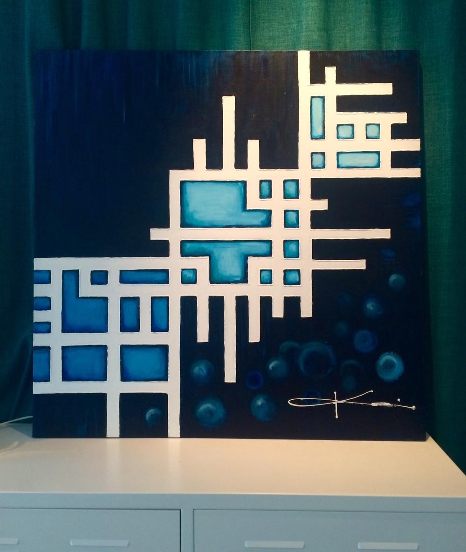 MANETER  - Akryl på duk 100 x 100 cm. Pris: 5 800 kr.