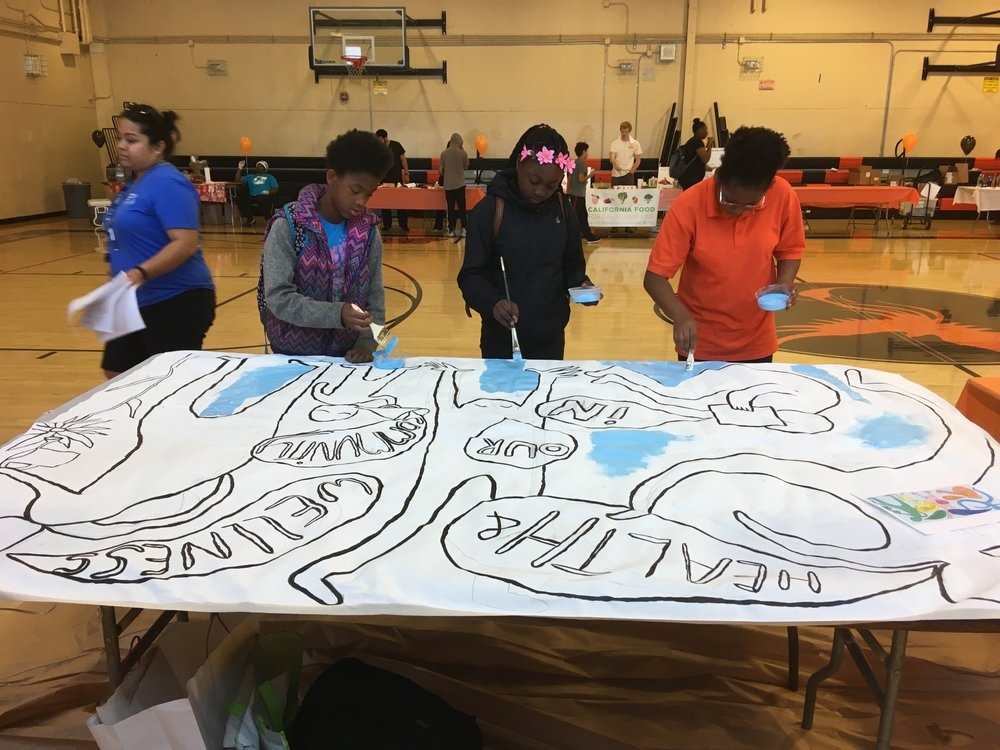 Health and Wellness Mural at West Oakland Middle School