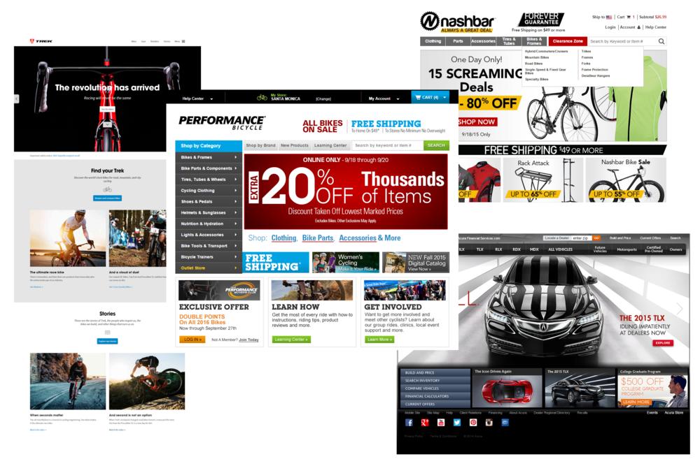 Clockwise from left: Trek website, Nashbar homepage, Acura homepage. Middle: Performance Bicycle homepage.