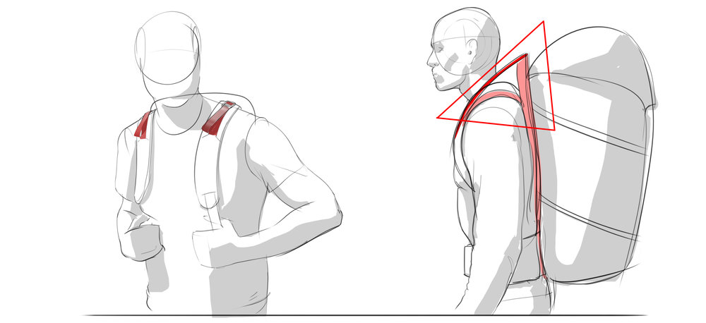 Straps on the left pretending to do something but not actually doing anything. True load lifters on the right make a triangle to adjust.