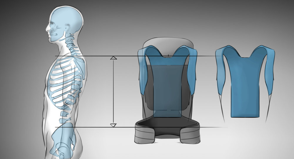 An adjsutable yoke in blue allows users to match the pack to their torso length.