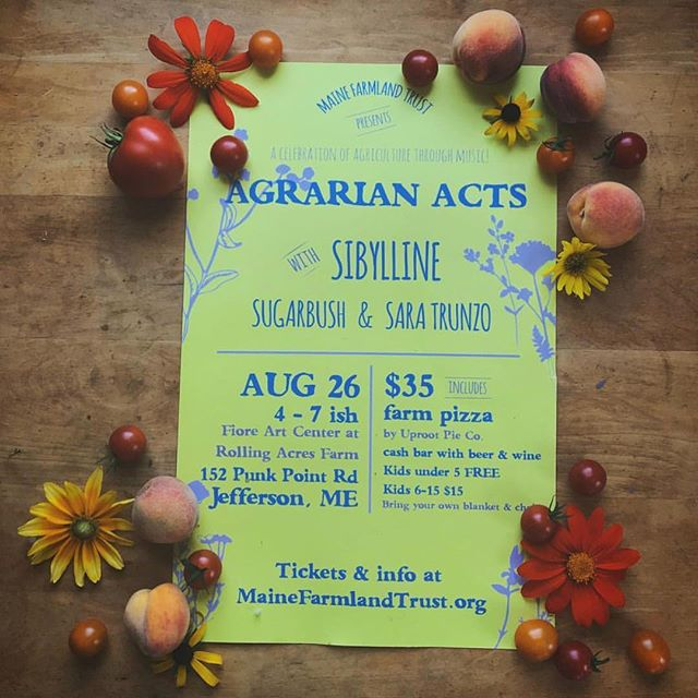 Join us for Agrarian Acts today! We'll be there with @saratrunzomusic and @sibyllinetheband 👏🏼 A ticket gets you dinner with @theuprootpieco 🍕 See you there!