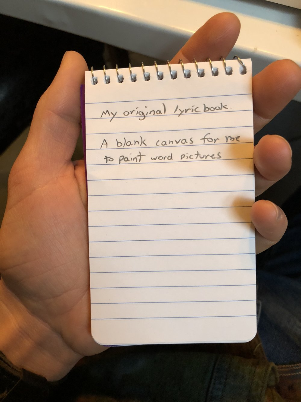 In searching through old keepsake bins in my basement, I couldn't find my original lyric box containing all of the various versions of my original notepads, but this pictures shows how discrete my powerful new weapon could be.
