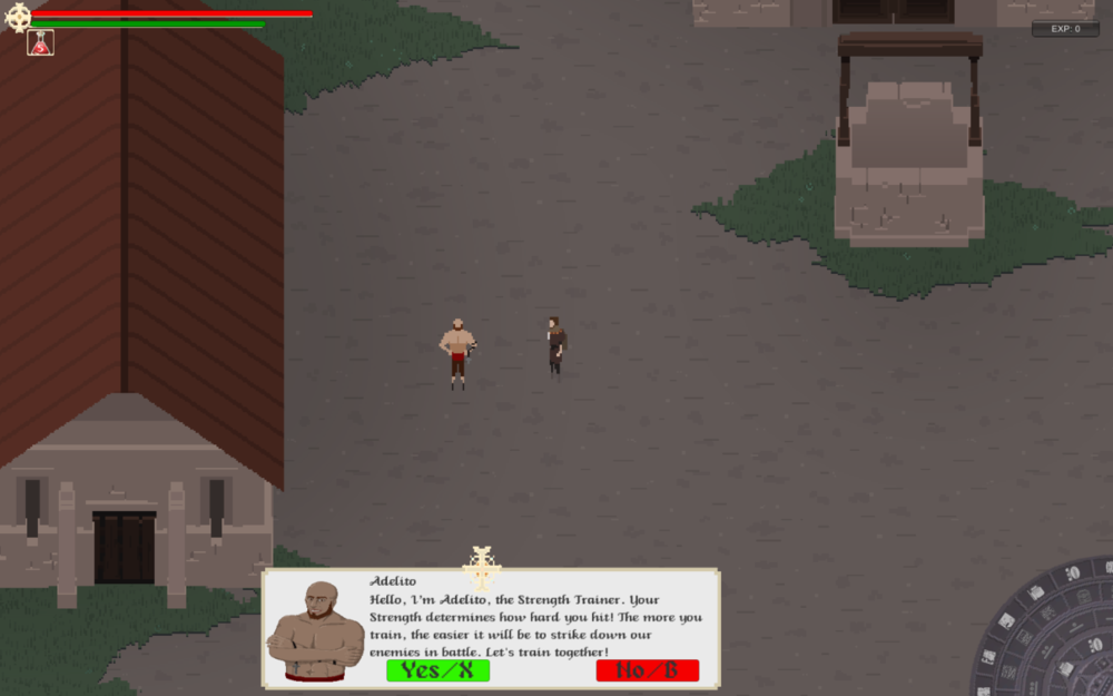 The player talking to Adelito, the trainer of Might.