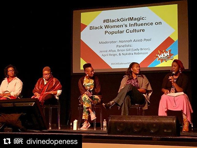 #Repost @divinedopeness with @repostapp ・#Amazing discussions were happening today at Women of the World Festival in Baltimore, @wowfestivalbaltimore on the #BlackGirlMagic panel @nykidra! #SheWillVote #BlackGirlsVote #Empower #Educate #Engage #WOW @wowglobal #Baltimore #OneVote