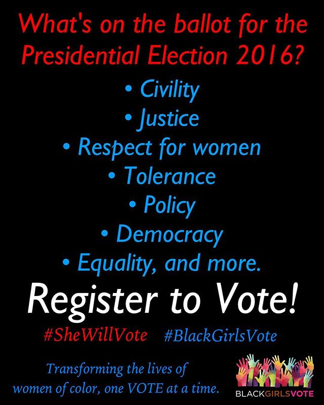 With 24 days left until #ElectionDay, If you want your #Voice to be heard, #Honor the #Sacrifices that were made for #YOU by casting your #Vote in #Local, #State and #Federal/ #Presidential elections. If you want #Change, #BeTheVoice in your #Community by registering to vote! The #Power starts with you! #SheWillVote #BlackGirlsVote #BGV #OneVote #Inform #Empower #VoterRegistration #Voters #Election2016 #VoteYourVoice