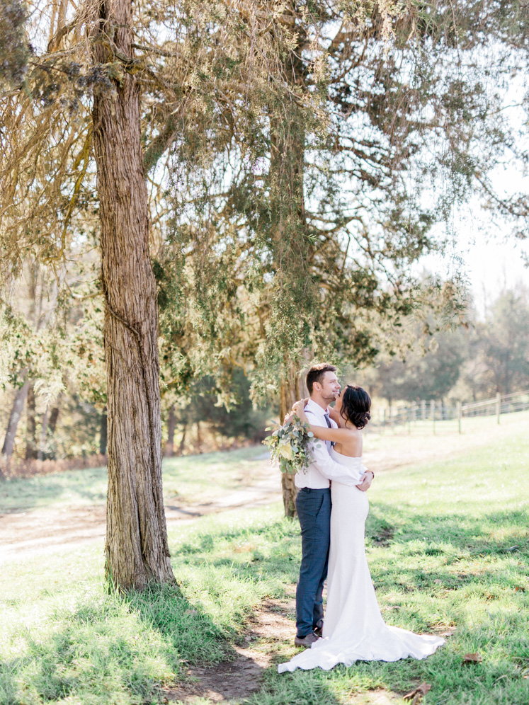 Bride and Groom Photos | Bella Wedding Dress by Sarah Janks | Rustic Winter Wedding | Lynchburg, Virginia Film Photographer | kelseyandnate.com