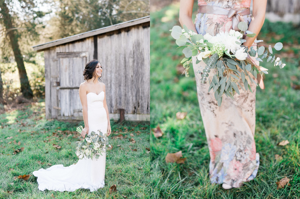 Maternity Maid of Honor in Floral Melinda BHLDN Dress | Bella Wedding Dress by Sarah Janks | Rustic Winter Wedding | Lynchburg, Virginia Film Photographer | kelseyandnate.com