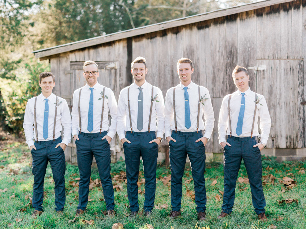 Suspenders and tie clips for the Groomsmen | Bella Wedding Dress by Sarah Janks | Rustic Winter Wedding | Lynchburg, Virginia Film Photographer | kelseyandnate.com