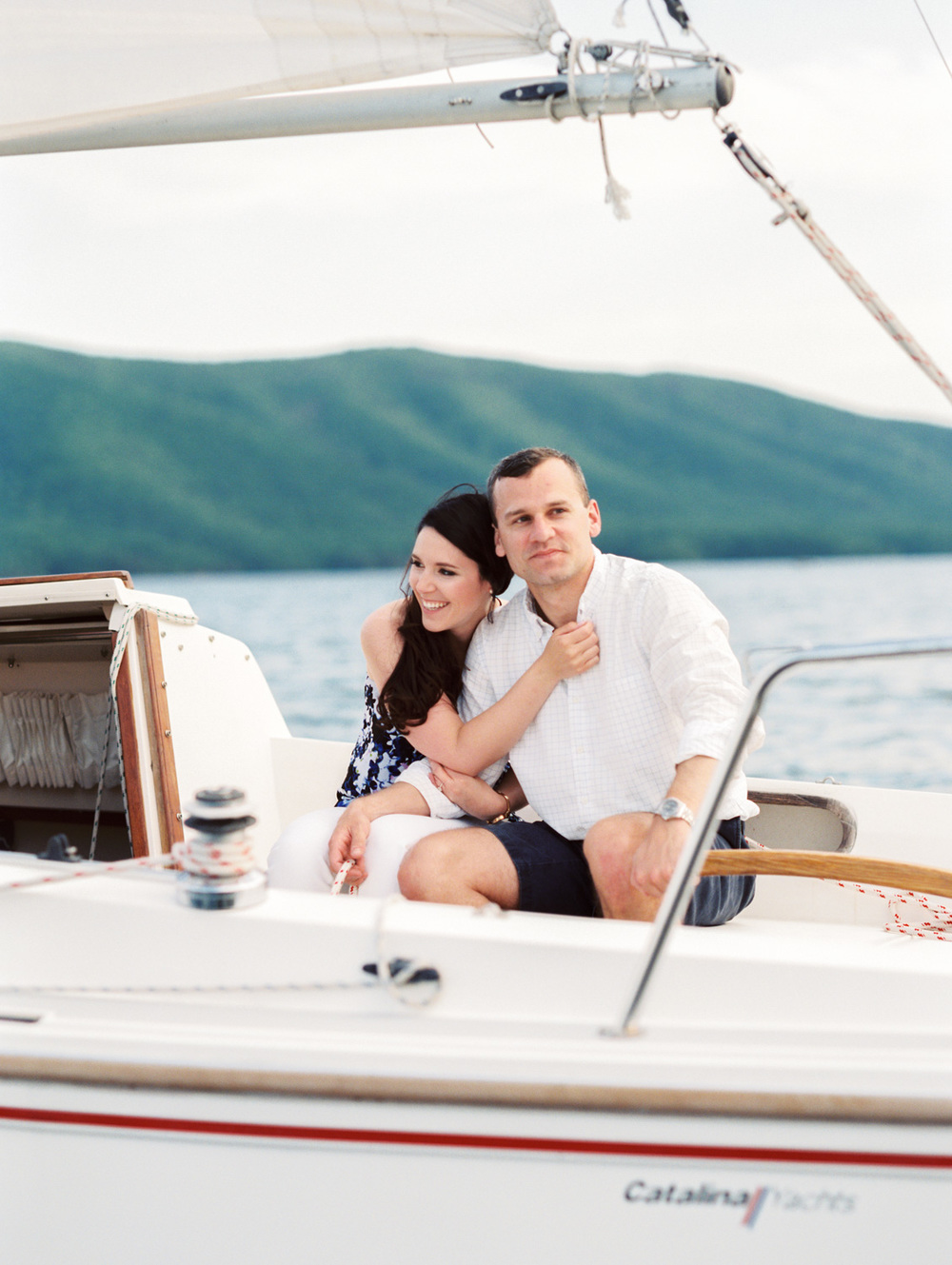 Megan & Court | Sailboat Engagement Photos | Smith Mountain Lake, Virginia | Kelsey & Nate | kelseyandnate.com | Nautical Photography