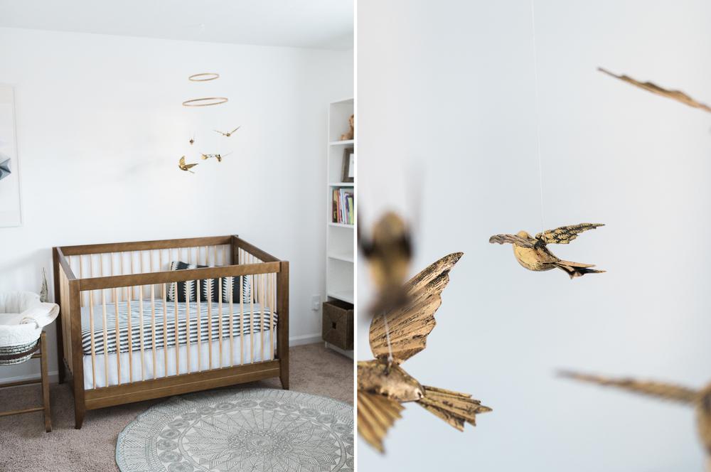 West Elm Inspired Newborn Lifestyle Session | Lynchburg Photographer | Kelsey & Nate | kelseyandnate.com | Gold Bird Mobile | Modern Nursery | White Nursery and Velvet Blue Rocker