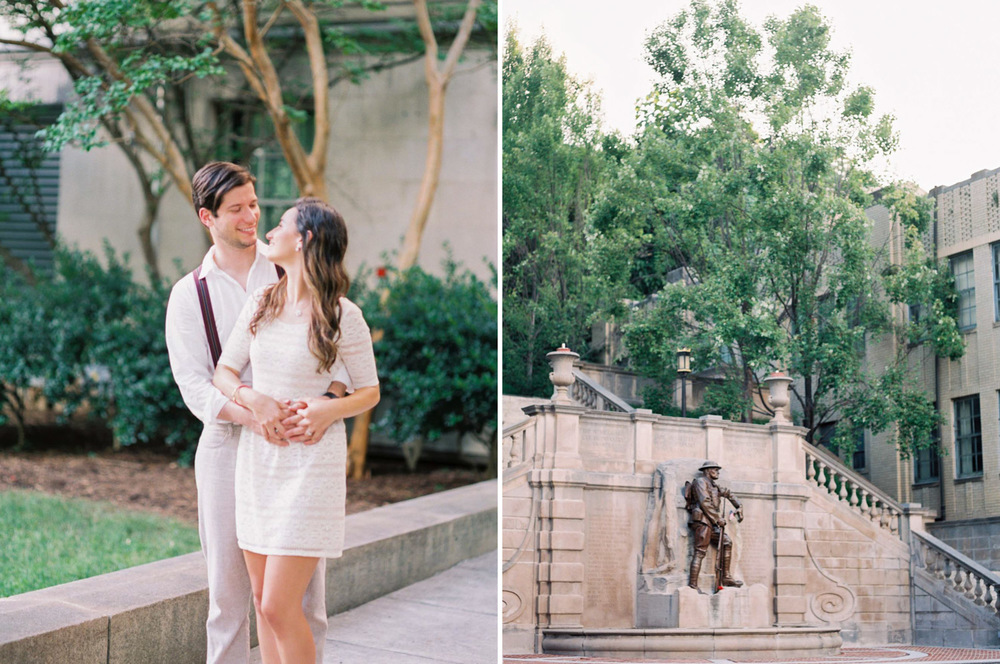 Downtown Lynchburg Brasilian Engagement Session | Monument Terrace Lynchburg, Virginia | Film Photographer | Kelsey & Nate | kelseyandnate.com