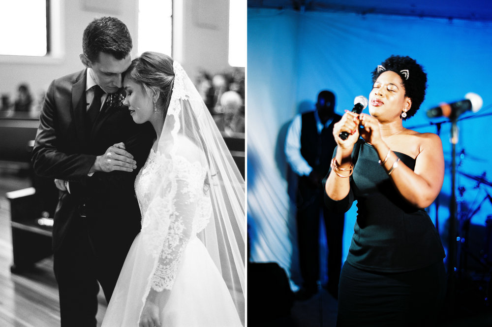 LEFT: Dimly lit church? no problem | HP5 +3  rIGHT: COLOR FILM STOCK AT a reception?! yep. portra 400 +2