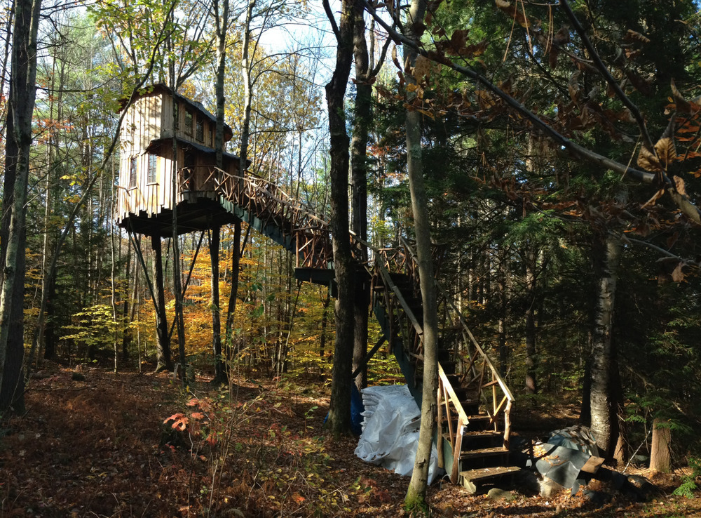 Epic treehouse in Swanzey, New Hampshire.
