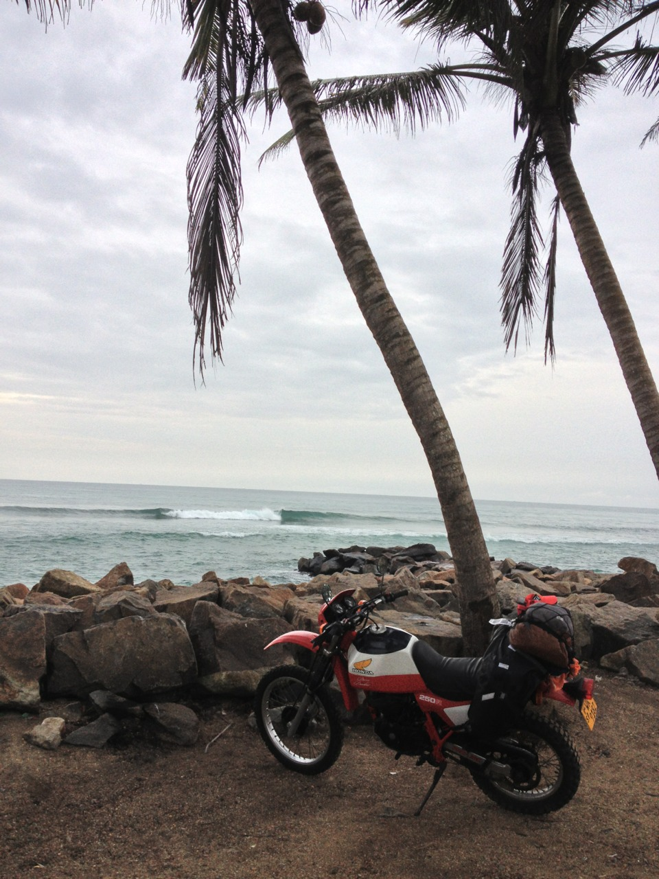 Best rental bike ever, Honda XL250 Dakar Edition parked up somewhere in Sri Lanka, Jan 2013.