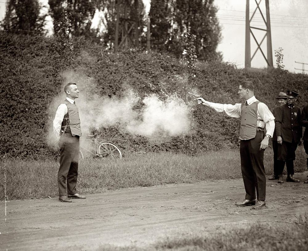 Eat your heart out Knoxville… vintage bullet proof vest testing!