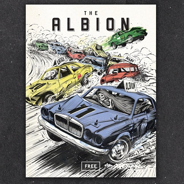 99seconds: So my secret project is out. I proudly illustrated the cover for Albion magazine 11. Art direction by George Marshall & Albion. Thanks so much for the opportunity guys! Stoked New Albion cover is awesome!