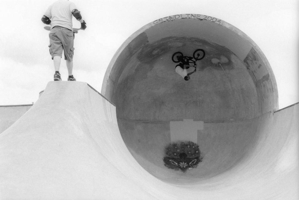 "Garrett Byrnes in 2004 paving the way for BMX cradle shenanigans… As Joe Rich puts it, a ""Beast for all of eternity""."