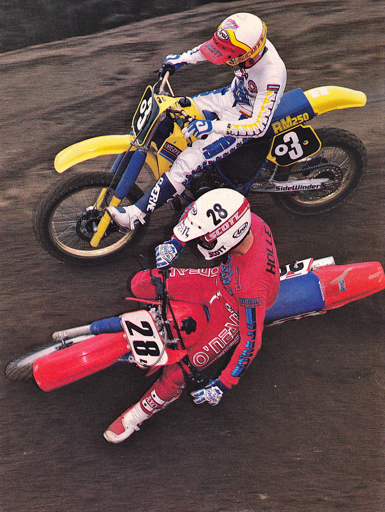 Chad Reed's current mechanic Dave Osterman (3) getting into it with Jim Holley (28).