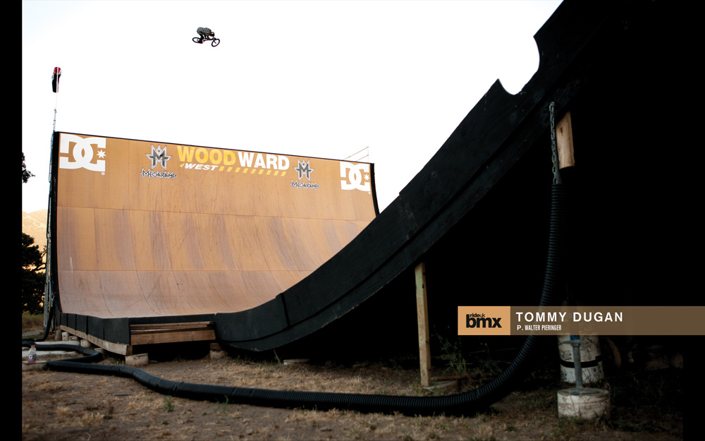 Tommy Dugan  gets acquainted with the mega ramp.