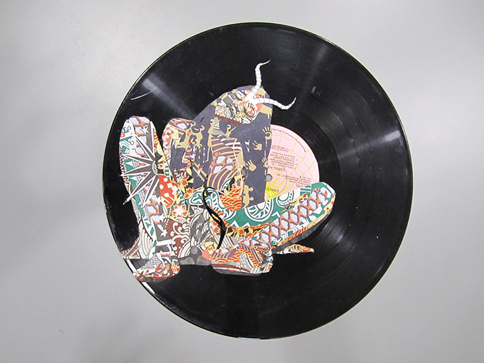 Lorna Williams-Self-Portrait on Record-2008-mixed media on record-12 in diameter-1.jpg