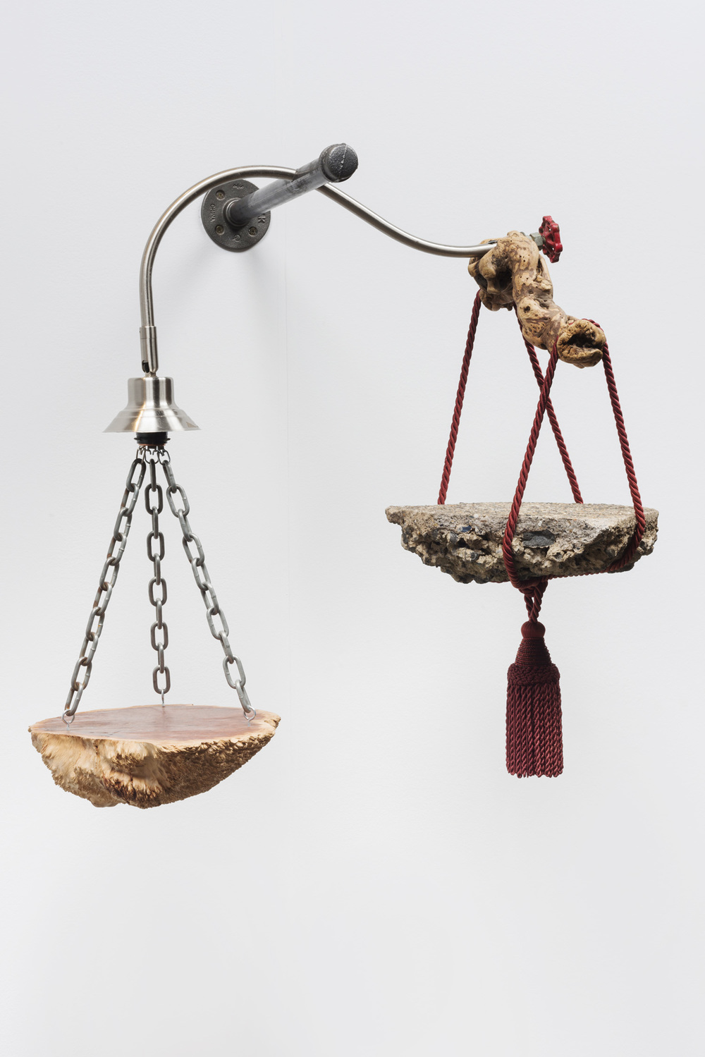 Lorna Williams-crux-2013-Australian burl, chain, curtain tassel with beads, drift wood, plumbing hardware, concrete, light fixture-30x27x20.jpg
