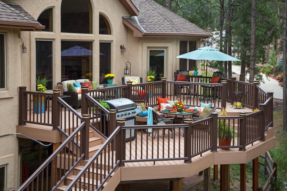 deck composite railing outdoor room design trex azek timbertech