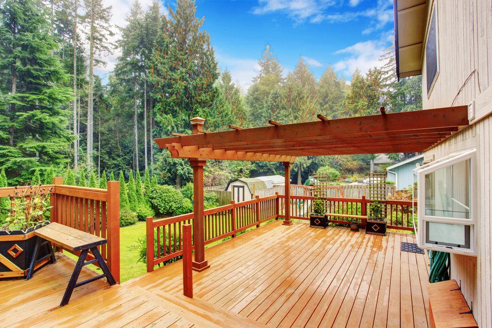 wood deck design builder pergola railing