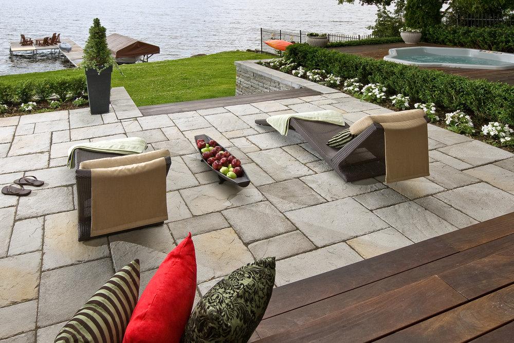 patio deck backyard hot tub landscape design plantings steps lake front outdoor room