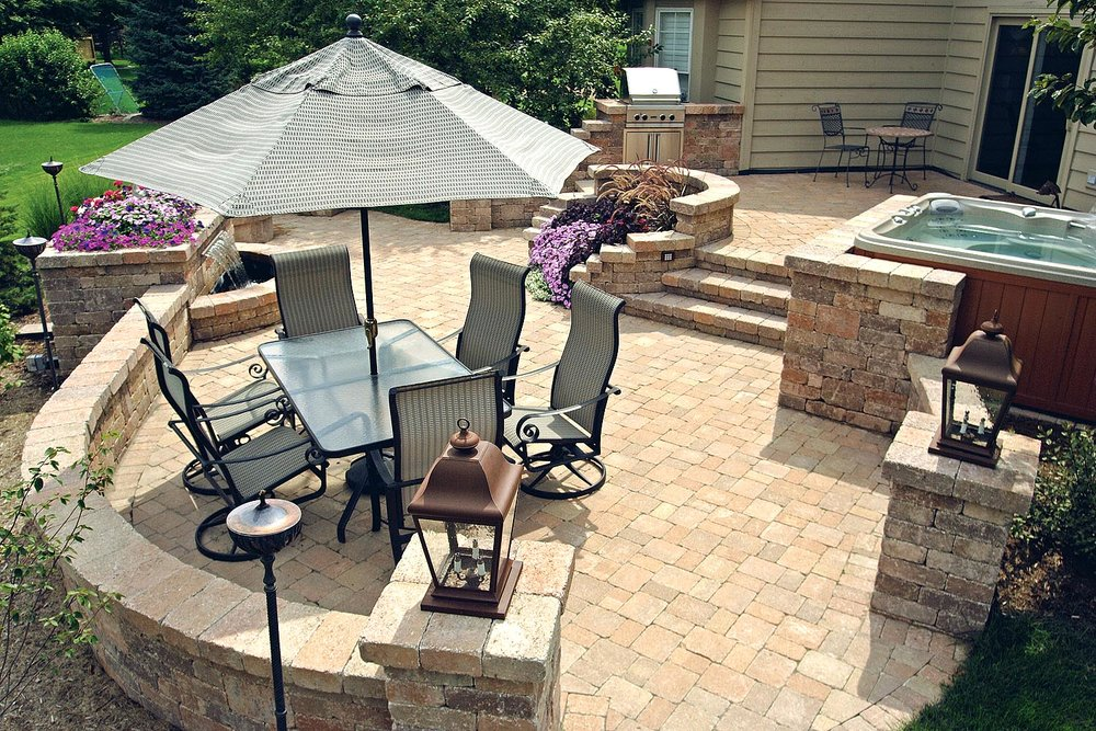 patio sitting wall landscape design steps hot tub plants plantings landscape lighting backyard