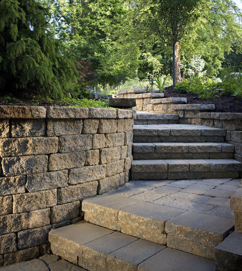 Steps walkway sidewalk retaining wall plantings