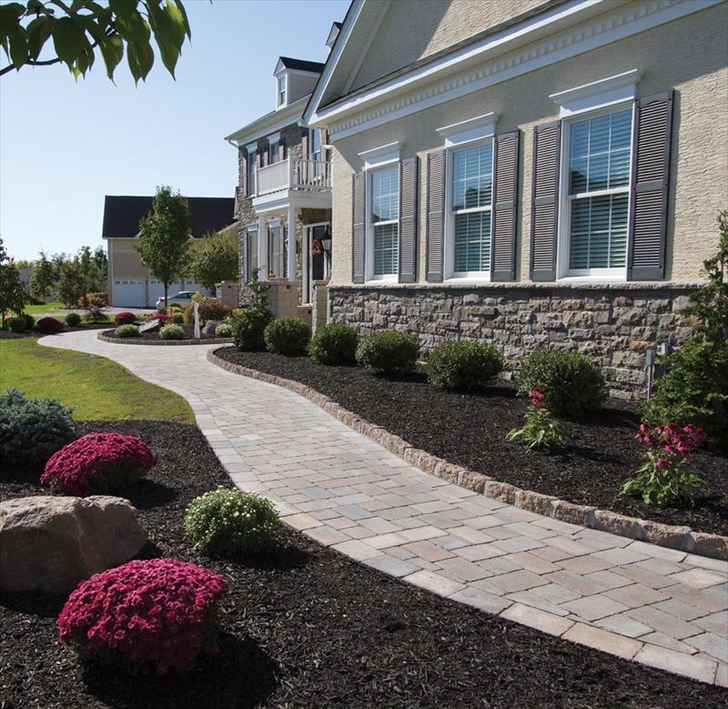 sidewalk walkway curb plantings landscape design front of home landscape