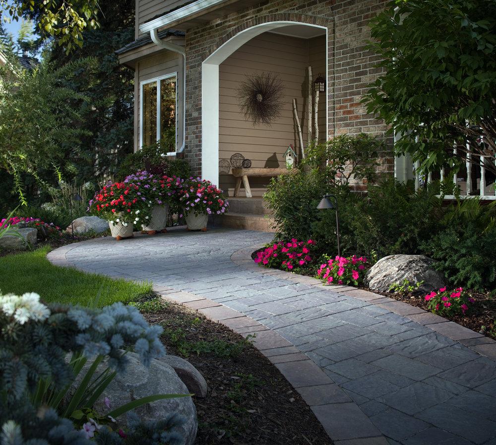 walkway landscape design sidewalk paver design hardscape