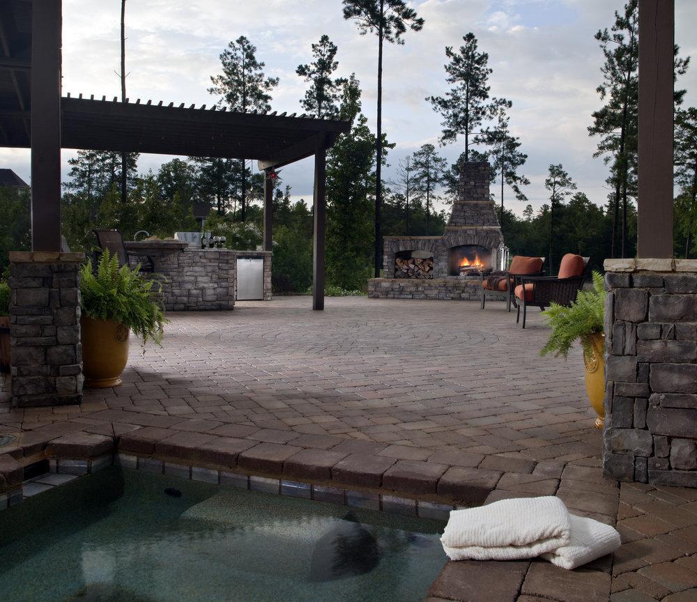 backyard patio pergola outdoor kitchen pool landscape design fireplace paradise