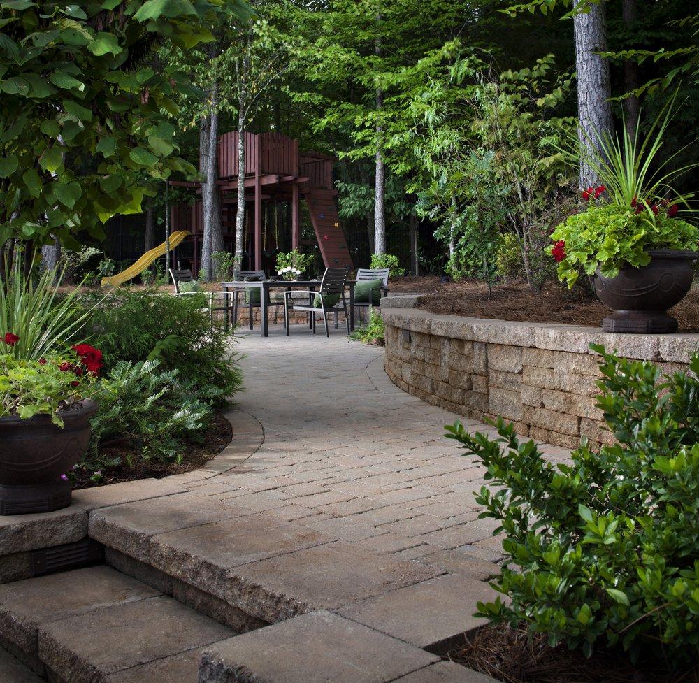 patio walkway sidewalk steps retaining wall landscape design plantings