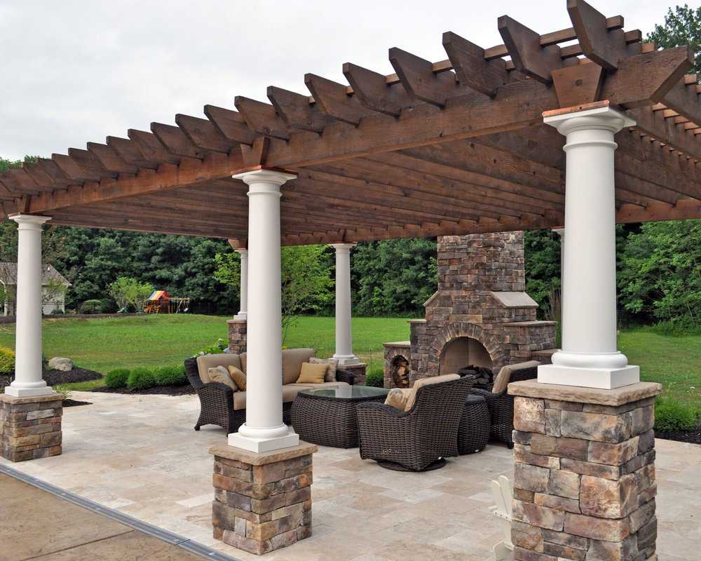 pergola landscape design patio fireplace backyard pool